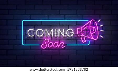 Coming Soon neon sign, bright signboard, light banner. Coming Soon logo neon, emblem. Vector illustration