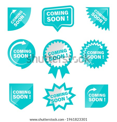 Coming soon promotion product labels set
