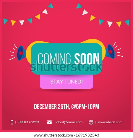Coming soon stay tuned with megaphone speakers facebook  announcement post in red background. Coming soon social media marketing and promotional banner template.