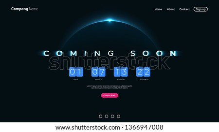 Coming Soon text on abstract Sunrise Dark Background with Flip countdown clock counter timer. Design Concept for sale, web, promotion announce, template design, under constuction page.