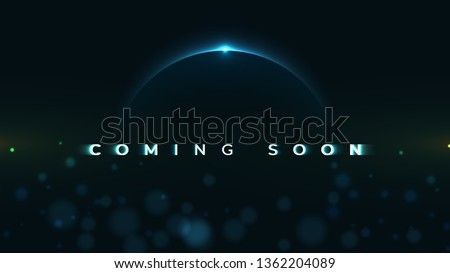 Coming Soon text on abstract Sunrise Dark Background with motion effect. Design Concept for sale, business advertising, web, promotion announce, poster, banner, flyer. - Vector Illustration