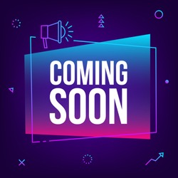 Coming soon. Vector abstract gradient sign illustration with loudspeaker, newlabel design for sale. Business  advertising thin line web icons, promotion announce tag, sticker, announcement.