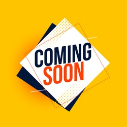 coming soon yellow background in geometric style