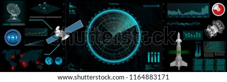 Command Center Screen in HUD style. Topographic Map, Contour. Futuristic Interface Elements and Earth Landscape Scanning. Concept of a Conditional Geography Scheme in HUD Style. Vector Elements Set  #1164883171