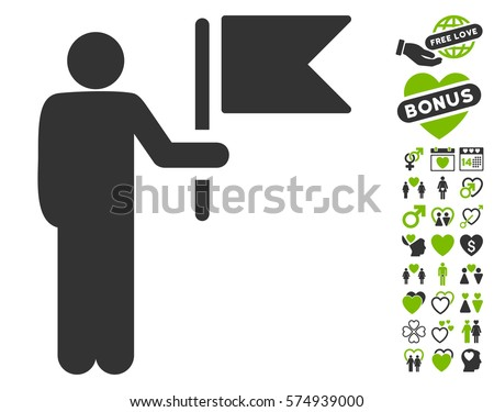 Commander With Flag pictograph with bonus valentine clip art. Vector illustration style is flat iconic eco green and gray symbols on white background.