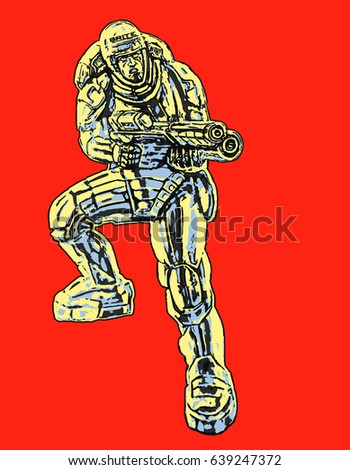 commando in armor suit with