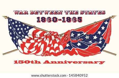 Commemorating the 150th Anniversary of the U.S.Civil War flags of the North and South