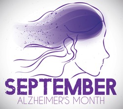 Commemorative design with woman drawing and purple fading color representing the Alzheimer affliction during September: month of awareness efforts to fight against this disease.