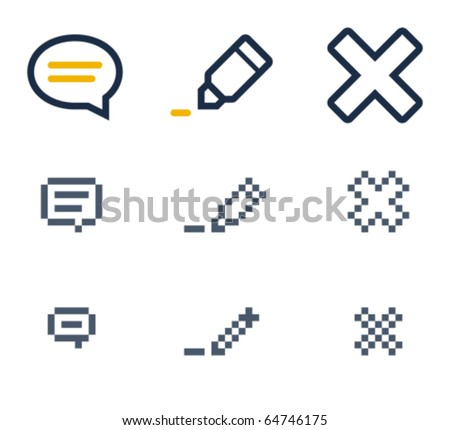 Comment, edit and delete icons. Icons are aligned to pixel grid. This means that the images are prepared for use in small-sizes. Specially for the Web.