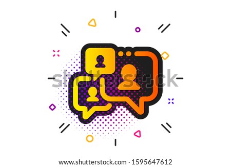 Comments sign. Halftone circles pattern. Support chat icon. Speech bubble message symbol. Classic flat support chat icon. Vector Stock photo ©