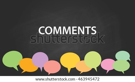 comments with blackboard and colourfull comment bubble with chalkboard effect vector graphic illustration Stock photo ©