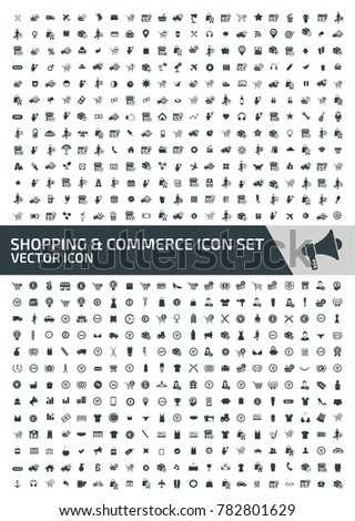 Commerce and shopping icon set design #782801629