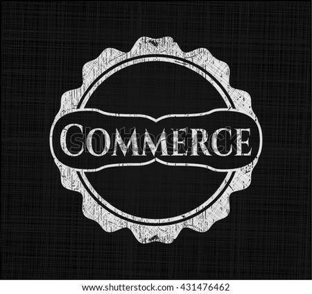 Commerce chalkboard emblem written on a blackboard