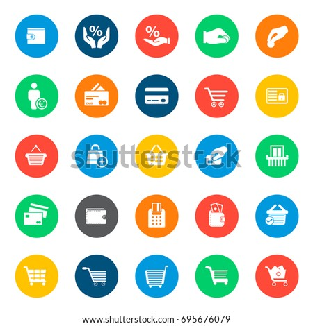 Commerce icons in colorful circles