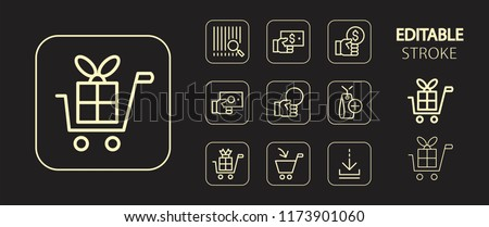 Commerce, marketing, shopping, business buttons. Golden icon set. Simple outline web icons. Editable stroke. Vector illustration.