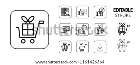 Commerce, marketing, shopping, business icon set. Simple outline web icons. Editable stroke. Vector illustration.