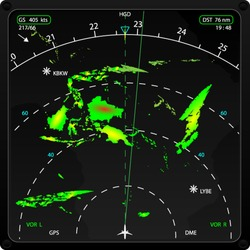 Commercial airplane's on board radar, displaying weather information, vector