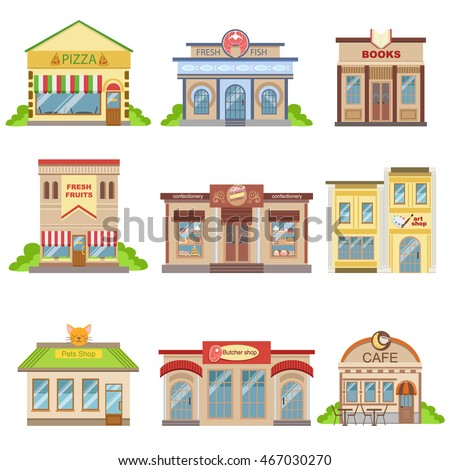 Commercial Buildings Exterior Design Set Of Stickers