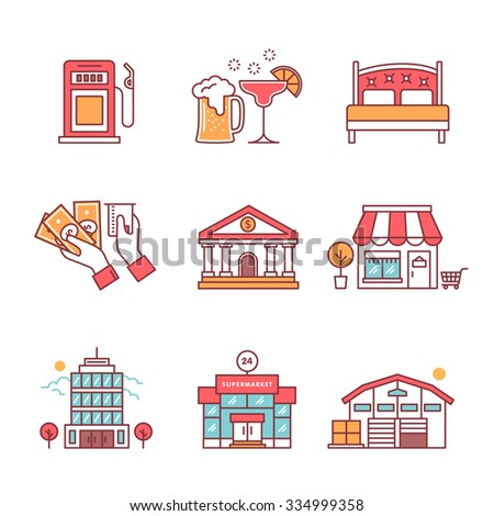Commercial buildings sings set. Thin line art icons. Flat style illustrations isolated on white.