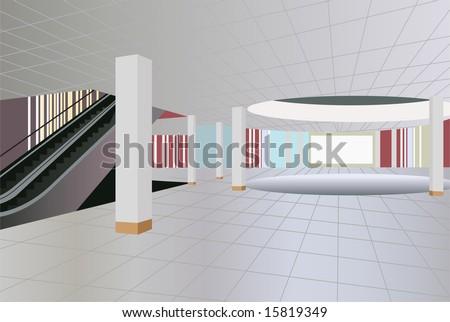 commercial center interior vector