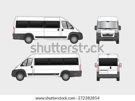 Commercial city van, small bus, vehicle blueprint