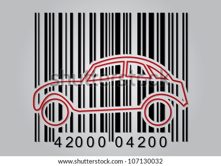 Commercial concept with bar code and abstract car icon