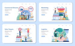 Commercial director web banner or landing page set. Business planning and sales growth. Sales targeting and marketing optimization concept. Vector illustration in cartoon style