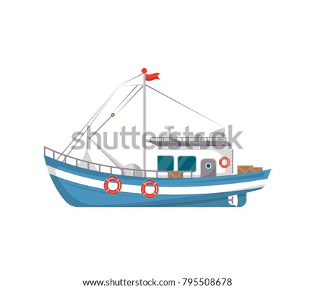 Commercial fishing boat side view isolated icon. Sea or ocean transportation, marine ship for industrial seafood production vector illustration in flat style.
