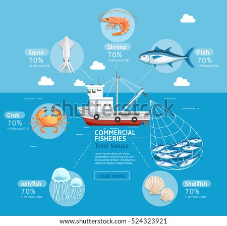 Commercial fishing business plan infographics. Fishing boat, jellyfish, shellfish, fish, squid, crab, tuna, and prawn. Vector Illustrations. Can be used for  banner, diagram, web design.