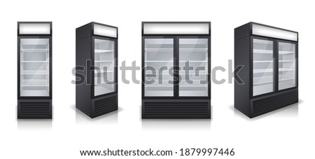 Commercial glass door drink fridges with one and two display sections realistic set isolated vector illustration