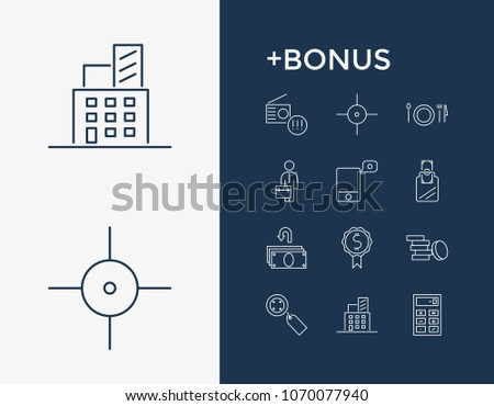 Commercial icon set and cashback with invest, accounting and job. Price related commercial icon vector for web UI logo design.