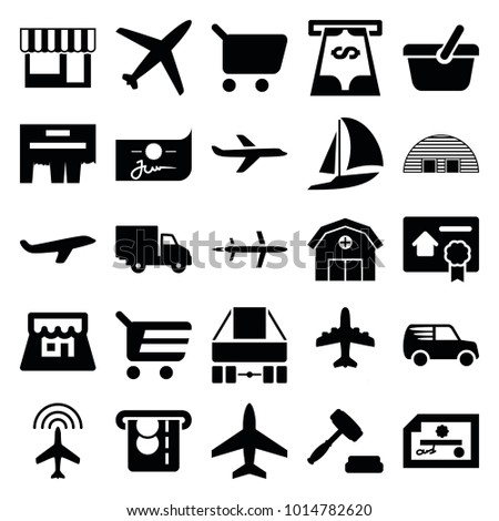 Commercial icons. set of 25 editable filled commercial icons such as plane, shopping cart, check, delivery car, ad, shop, auction, bill of house sell, barn, atm money withdraw