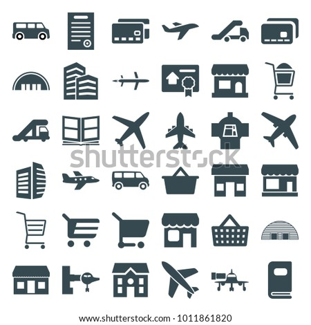 Commercial icons. set of 36 editable filled commercial icons such as store, truck crane, jetway, barn, van, business center, house, shopping cart, plane, credit card