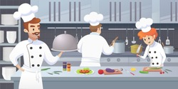 Commercial Kitchen with Cartoon Characters Chef Cook Dish Dinner. Vector Illustration of restaurant kitchen with Culinary Staff Holding Round Cloche Tray with Food.