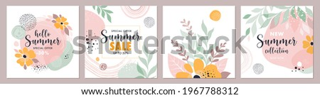 Commercial or Social media Summer banners templates. Vector set of four abstract backgrounds with leaves, flowers and brush strokes  in trendy style  Foto stock ©