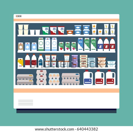 Commercial refrigerator full of dairy products.  Flat style, vector illustration.