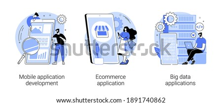 Commercial software abstract concept vector illustration set. Mobile application development, ecommerce app, big data management software, UI and UX design, database engineering abstract metaphor.