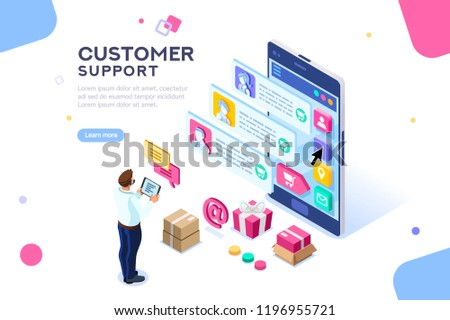 Commercial support for customer transaction on website. Consumer at website, buyer at electronic dashboard. Commerce or marketing concept with characters flat isometric images vector illustration.