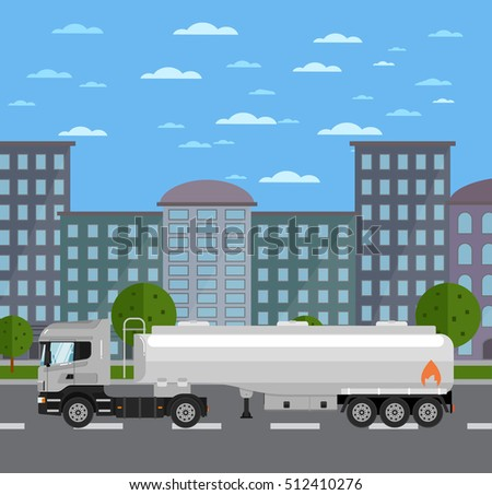 commercial tank truck on road