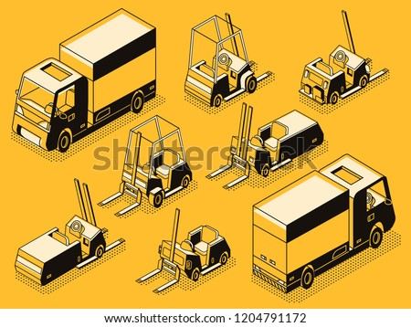 Commercial transport and hydraulic loading machines black line art, isometric vector set. Cargo lorry and various forklift, pallet trolley and fork truck models collection. Warehouse freight equipment