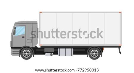 Commercial truck in flat style isolated. Delivery and shipping business cargo truck. Vecror illustration.