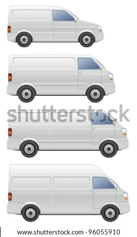 Commercial van icons set.