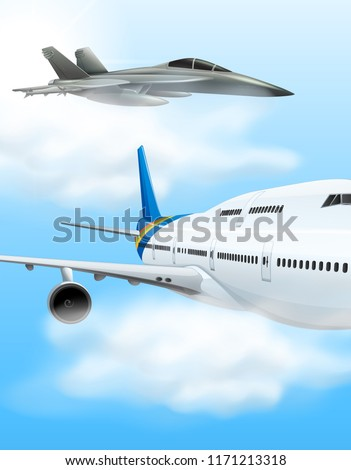 commerical aircraft and fighter