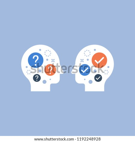 Common ground, mutual understanding, negotiation compromise, self comparison, interpersonal relationship, mentor concept, guidance, consulting service, chat bot, decision making, vector icon