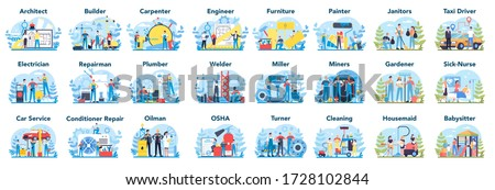 Common profession set. Collection of occupation, male and female worker in the uniform. Builder, engineer, nurse and oilman. Isolated vector illustration in cartoon style
