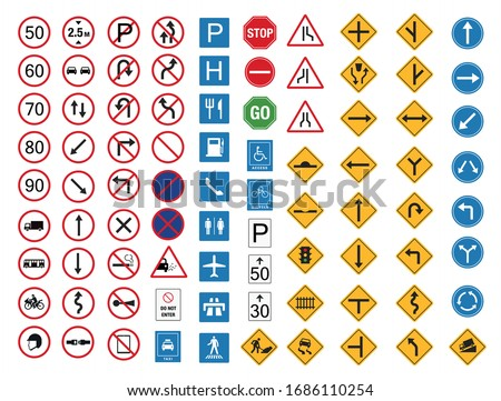 common traffic sign icon set flat design, safety transportation vector illustration