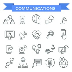 Communicating icons, thin line design