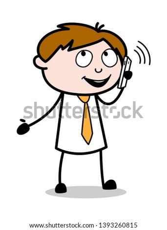 Communicating with Phone - Office Salesman Employee Cartoon Vector Illustration