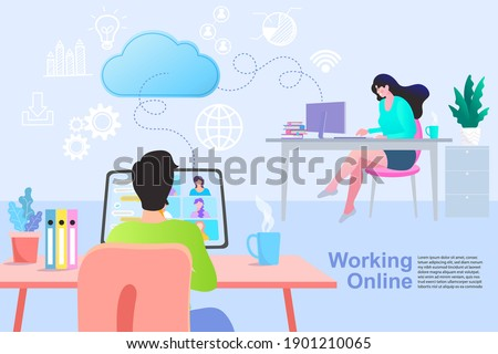 Communication and contemporary marketing. Man and woman connecting and working online together on laptop computer, remote working work from home concept, flat vector illustration.