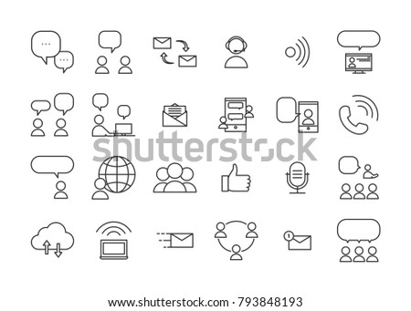 Communication and interaction icons. Vector thin line pictograms of ways of communicating and sharing information through real life interactions or technology devices.